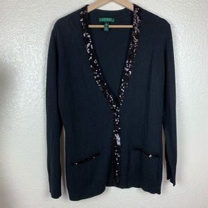 Ralph Lauren SILK / cashmere sequins cardigan